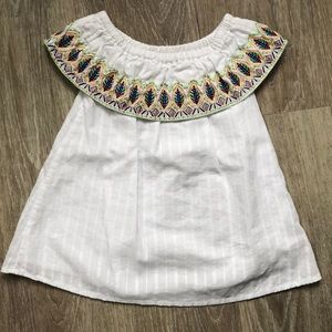 White Embroidered Toddler Dress
